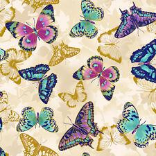 Fabri-Quilt Flights of Fancy Butterflies Beige 100% cotton Fabric by the yard