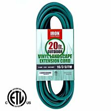 20 Ft Outdoor Extension Cord - 16/3 SJTW Heavy Duty Green Extension Cable with 3