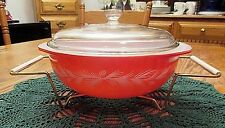 Pyrex Christmas Promotional Holiday Casserole with Lid, Orig. Cradle  Excellent!