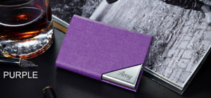 PERSONALIZED PURPLE LEATHERETTE BUSINESS CARD CREDIT CARD HOLDER ENGRAVED FREE