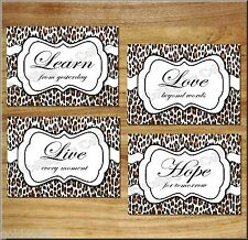 Leopard Print Pictures Wall Art Inspirational Quote Words Hope Love Live Learn +