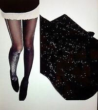 Women's Black Glitter Sparkle Holiday Panty Hose -2Pair Lot - Get by Christmas!!