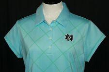NWT Notre Dame Fighting Irish Blue Womens Large Adidas ClimaLite Polo Shirt