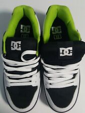 DC Shoes PURE 300660 White Lime Blk SKATE MENS US 10 Leather Upper Rubber 203369138
