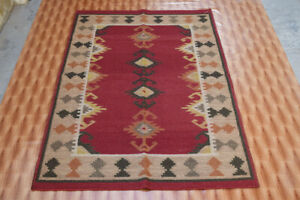 Red Hand Woven Dhurrie Southwestern Kilim Turkish Decorative Wool Rugs 4x6 ft