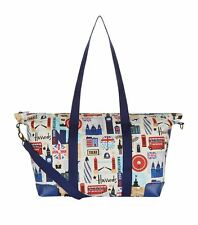 HARRODS LONDON ICONS DESIGN  ZIP TOP SHOULDER LARGE OVERNIGHT OR GYM TOTE BAG -