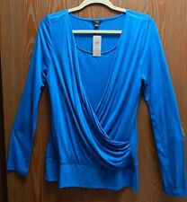 "Ann Taylor 36"" Bust Women's L Teal Blue Long Sleeve Wrap Blouse New NWT"