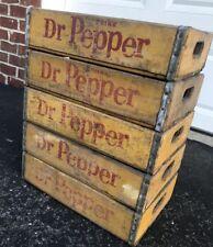 5 Vintage 1960's Yellow Dr Pepper Wood Soda Pop Crates Lot
