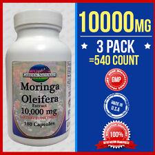 3 Pack Moringa Oleifera Extract 10,000mg =540 Caps Herb Anti-Aging+More Benefits