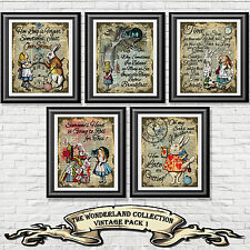 Alice in Wonderland Quote Print Vintage Dictionary Page Picture Set Wall Art