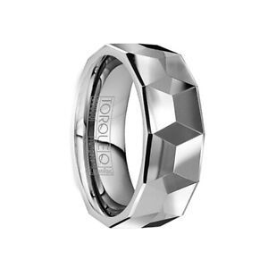 FAUSTINUS Polished Tungsten Wedding Band with Detailed Large Facet by Crown Ring