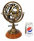 """Brass Sphere Armillary Collectible 11"""" Maritime Solid Nautical Decor Wooden Base"""