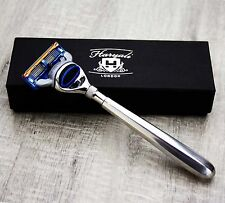 Long Stainless Steel Handle Men's Shaving Gillette Fusion Razor. Perfect For All