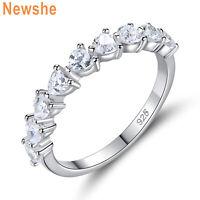 Newshe Eternity Ring Wedding Band For Women Heart Cz 925 Sterling Silver Sz 5-10