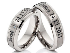 2 Titan Ring Wedding Rings Bands Engagement Ring with Exterior Laser Engraving
