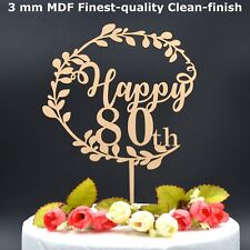 Happy 80th Birthday 80 Eighty Cake Topper Wooden Party Decoration