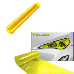 "12""x 48"" Yellow Car SUV Headlight Taillight Fog Light Protection Vinyl Tint Film"