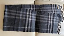 """Burberry Men's Grey Classic Check 100% Cashmere Scarf 70"""" X 11-1/2""""Made Scotland"""