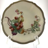 Antique Limoges Plate T&V Hand Painted Strawberry Gold Rim Signed LeFort France