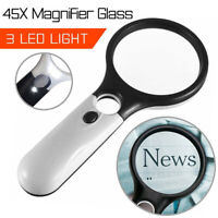 3LED Light 45X Handheld Magnifier Reading Magnifying Glass Lens Jewelry Loup YK