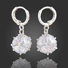 Women's Jewelry Pair of Dangling Earrings with Cubic Zirconia Crystals Stones