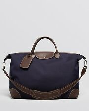 $795 LONGCHAMP MENS BLUE NYLON LEATHER LARGE DUFFLE TRAVEL WEEKENDER LUGGAGE BAG