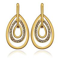 18k 18ct Yellow Gold Plated GP Crystal Dangle Wedding Woman Earrings E-A542