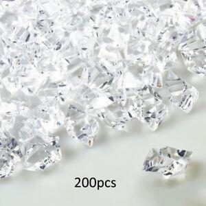 200pcs DIY Fake Crushed Ice Rocks Cubes Clear Acrylic Vase Fillers Decor Kit