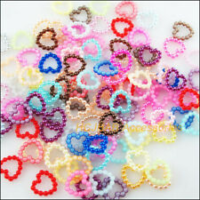 150 New Heart Circle Charms Acrylic Plastic Spacer Beads Mixed 11mm