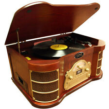 Classical Turntable with AM/FM Radio/ CD/ Cassette/ USB Recording & iPod Player