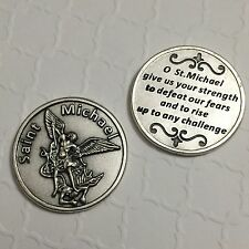 Saint Michael Archangel Pocket Coin Token Protect Prayer Catholic Silver Tone