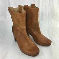 Frye Carson Chestnut Brown Leather Mid Pull On Chunky Heel Women Boots Sz 8M