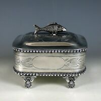 Antique Silver Plated Sardine Box Figural Fish Lid Footed Marked