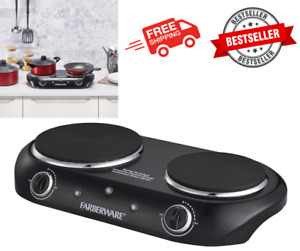 Electric Stove Cooktop Burner 1800W Hot Plate Portable 2 Burners Kitchen Cooking