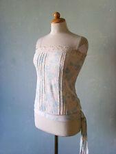Miss Selfridge Shirt Trägertop beige türkis blau Gr. 34 XS süß Schleife Spitze
