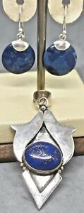 "Silver Jewelry Lot: 2"" Lapis Lazuli Pendant & Faux Stone Earrings Maybe Sterling"