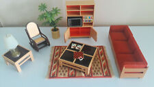 Vintage TOMY Smaller Homes Doll House Furniture Living Room Set 18 Pieces