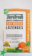 TheraBreath Dry Mouth ZINC Lozenges Mandarin + Mint 100 Lozenges, New w/Box Wear