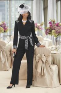 size 16 Irini Black Embroidered Pant Suit Set from Ashro new