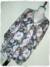 Solitaire Black Floral Magnolia Lightweight Zip Up Trendy Bomber Jacket 3X