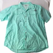 Columbia PFG Button Down Collared Shirt Short Sleeve Mint Green Men's Medium