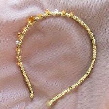 Gold Champagne Perle Demoiselle D'honneur Mariage Fête Fleur Fille Serre-tête Cheveux Accessoire