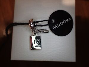 AUTHENTIC PANDORA Book & Glasses I LOVE READING CHARM 791984 NWT & Pouch