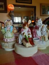 Lot of 3 Schmid Beatrix Potter music boxes Tabitha & Mrs. Ribby cats and mouse