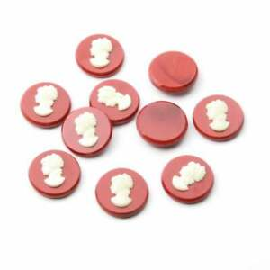 Lot (10) Czech vintage white head cameo red glass cabochons 20mm