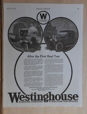 1919 magazine ad for Westinghouse Auto Electrical Equipment, after 1st real test