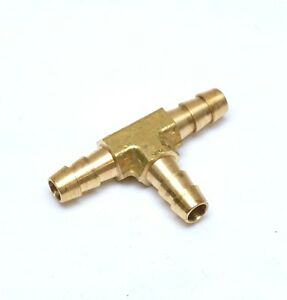 5/16 Hose ID Barb Tee Three Way Equal Brass Fitting Fuel Air Water Oil Vacuum