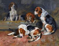 JOHN EMMS, BEAGLES DOGS, Hunting, ANTIQUE, VINTAGE, ART PRINT, Fathers of Pack