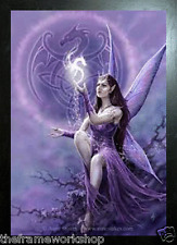 ANNE STOKES BLACK FRAMED CELTIC FAIRY - 3D MOVING PICTURE 365mm x 465mm