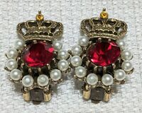 Ultra Rare Vintage Signed Weiss Rhinestone Royal Crown Clip Earrings Rhinestone